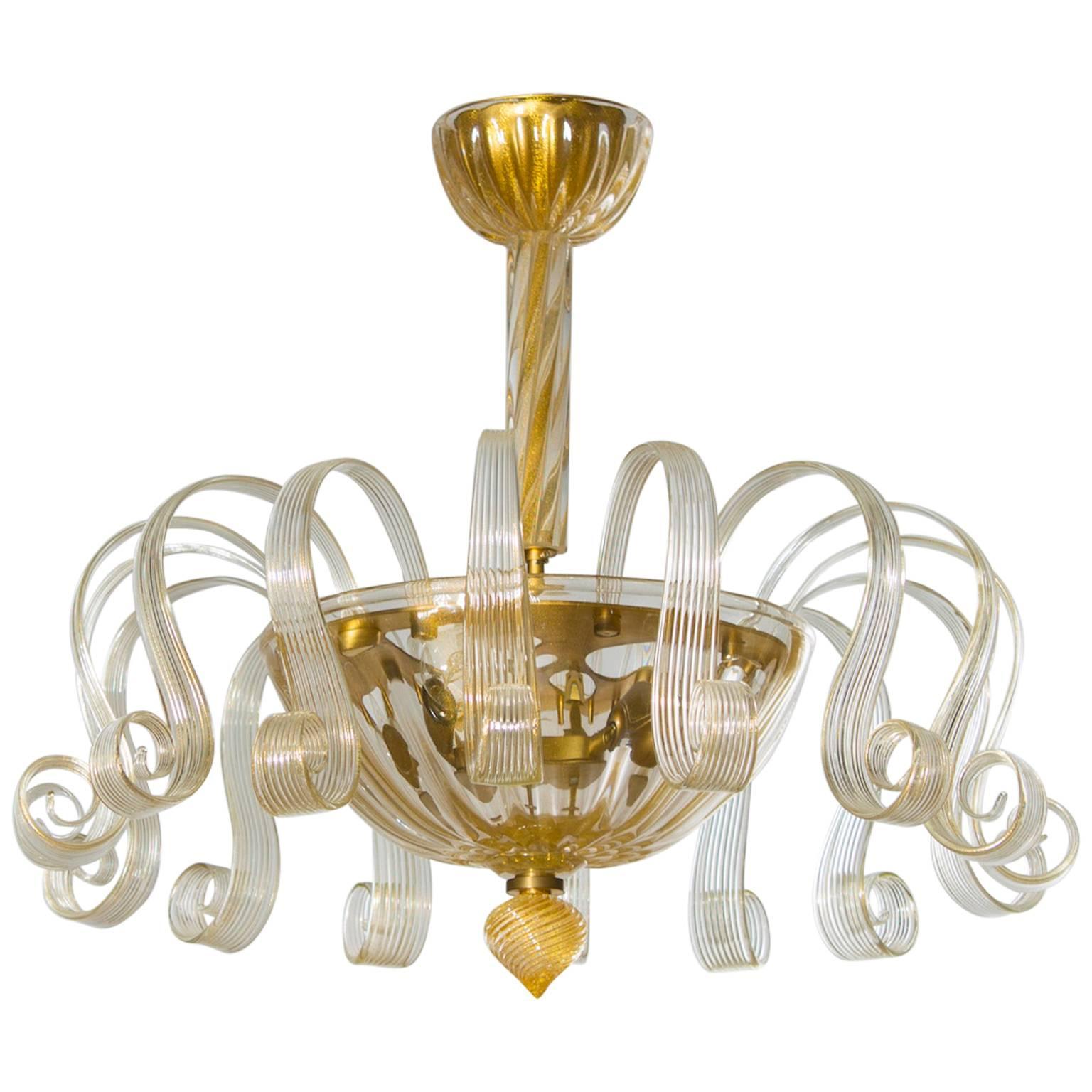 Italian Venetian, Flush Mount, blown Murano glass, Gold 24-K Pastorals, 1980s