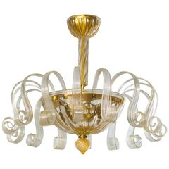 Italian Venetian, Flush Mount, blown Murano glass, Gold 24-K Pastorals, 1980s