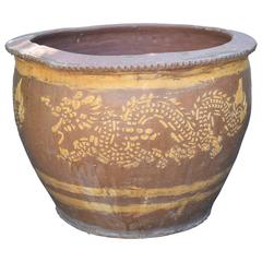 Vintage Chinese Earthenware Planter with Dragons