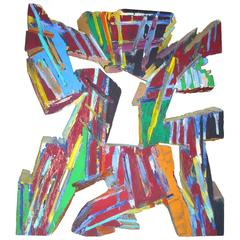 """Charles Arnoldi 'Chuck"""" Acrylic Painting on Plywood/Wall Sculpture, Signed"""