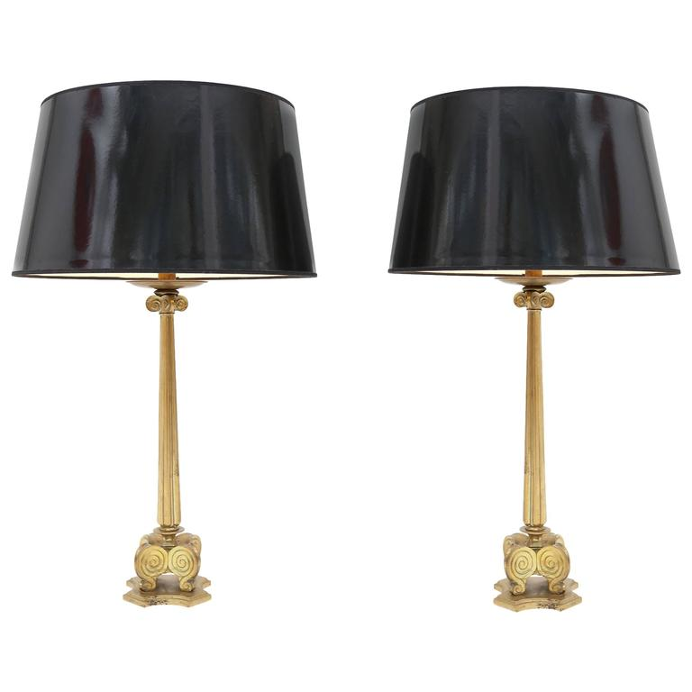 Brass hollywood regency Lamps style maison jansen