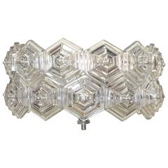 Mid-Century Glass Prisms and Chrome Ceiling Fixture Kinkeldey Era