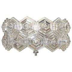 Mid-Century Glass Prisms and Chrome Ceiling Fixture Kinkeldey Era