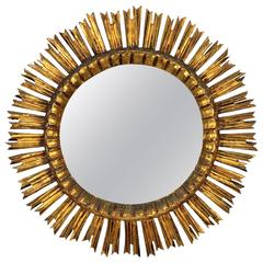 French Carved Giltwood Sunburst Mirror, 1930s