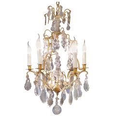 French Maison Baccarat Louis XV Style Ormolu and Crystal Small Chandelier