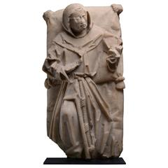 Large Medieval Alabaster Monk, 1480 AD