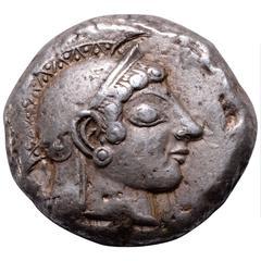 Rare Ancient Greek Archaic Athens Tetradrachm, 490 BC