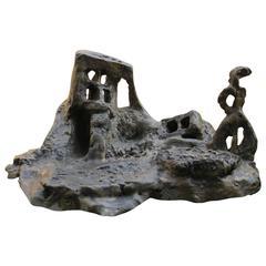 """Bronze Sculpture """"Sortie de Chaos, avec Silhouette"""" by Catherine Val"""
