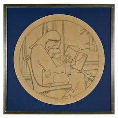 Unique Drawing (Mother Reading to Child with Cat) by Will Barnet