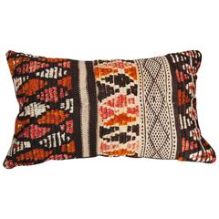 Moroccan Custom Pillow Cut from a Vintage Hand-Loomed Wool Rug, Atlas Mountains