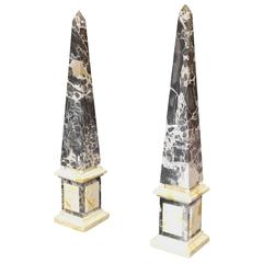 French Pair of Late 19th Century Marble Obelisks
