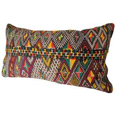 Custom Pillow Cut from a Moroccan Hand-Loomed Wool Rug, Atlas Mountains