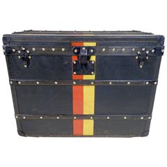 1914 Louis Vuitton Steamer Trunk in Black Vuittonite