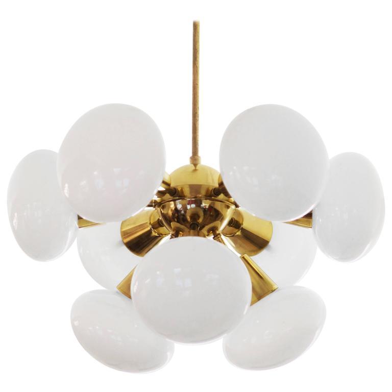 Midcentury Sputnik Milk Glass Chandelier