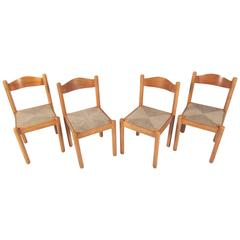 Set of Mid-Century Style Italian Rush Seat Dining Chairs