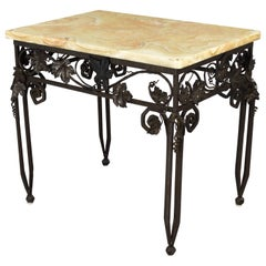 French Art Deco Iron Table with Onyx Top