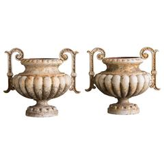 Pair of Antique French Painted Iron Garden Urns, circa 1880