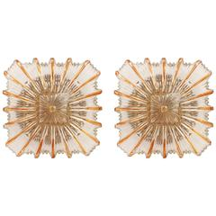 Pair of Amber Tone Glass Sconces or Flush Mount Light Fixtures, 1960s