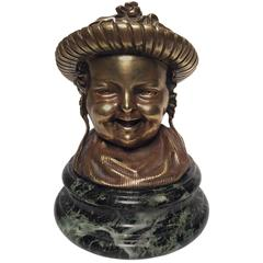 19th Century French Bronze Inkwell of a Baby Wearing a Bonnet on a Marble Base