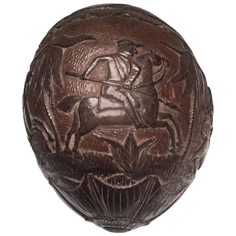 "Rare 19th Century ""Bugbear"" Carved Coconut with a Lion and Equestrian Hunt Scene"