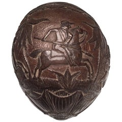 "19th Century ""Bugbear"" Carved Coconut with a Lion and Equestrian Hunt Scene"