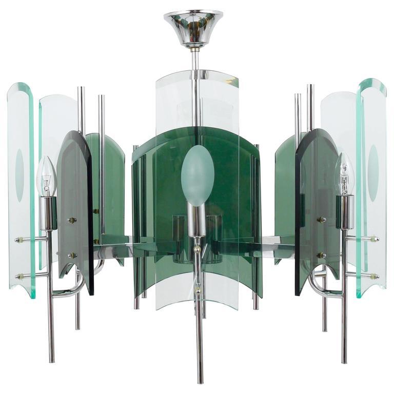 Huge Italian Glass Chandelier In The Manner of Fontana Arte, 1960s