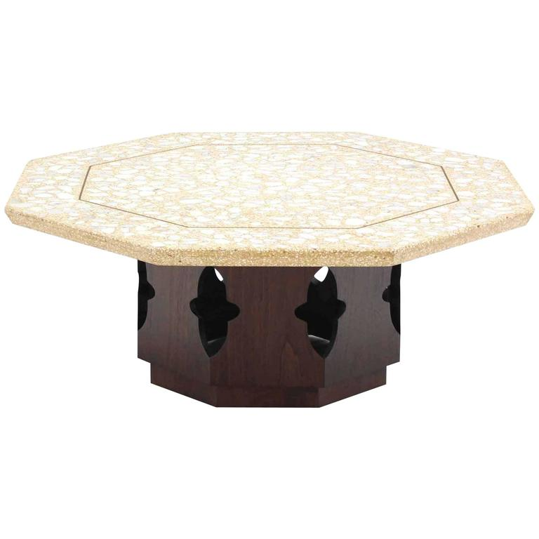 Large Harvey Probber Terrazzo Octagon Shape Top Coffee Table