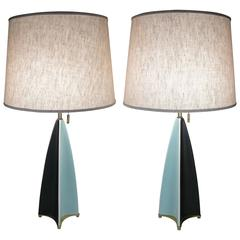 Pair of Vintage 1950s Ceramic Lamps by Gerald Thurston for Lightolier