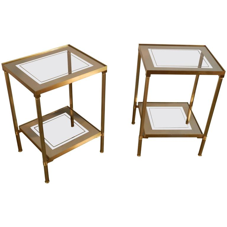 Pair of Glass and Mirror and Brass Side Tables