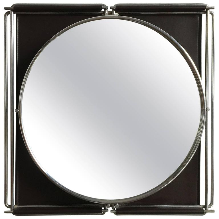 Rare Petite Chrome and Moleskine Sculptural Mirror - France 1970s