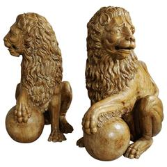 Pair of Decorative 19th Century Italian Life-Size Carved Pine Medici Lions