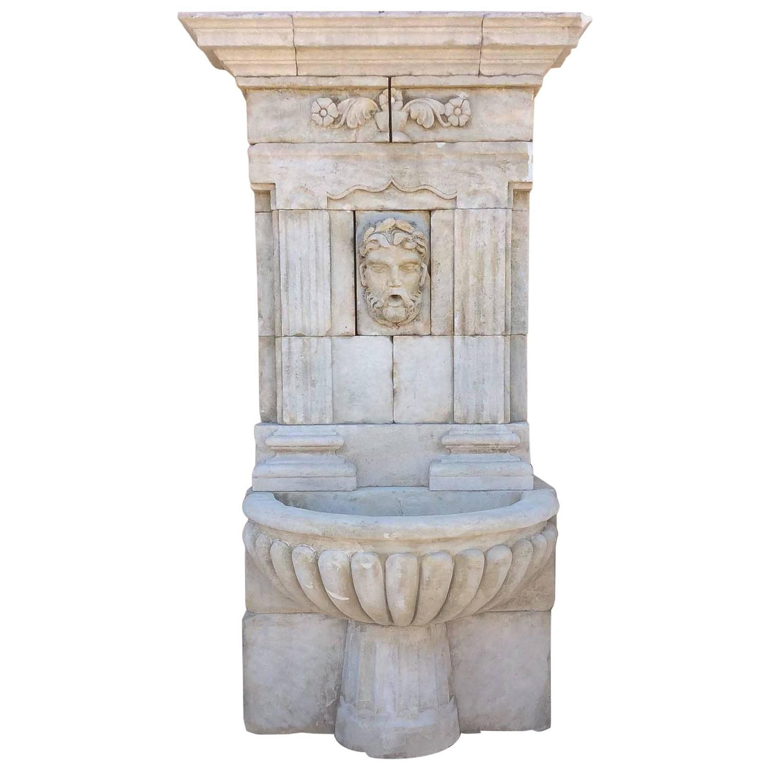 towering limestone wall fountain at 1stdibs