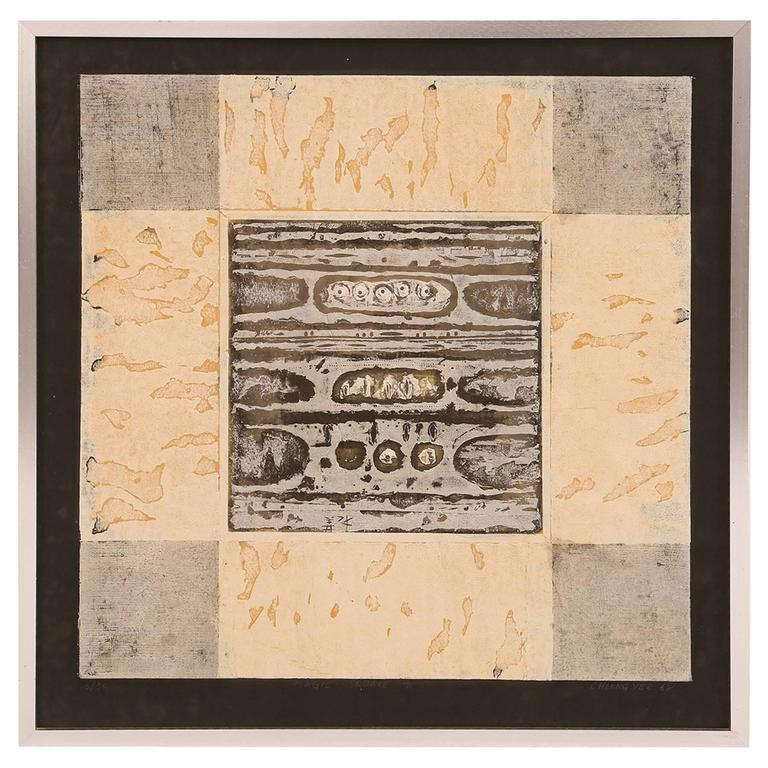 Cheung Yee 'Magic Square' Woodblock Print For Sale