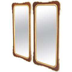 Pair of Burl Wood and Gold Frames Rectangular Mirrors