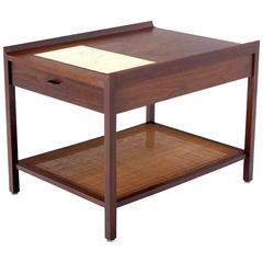 Walnut Side End Table With Travertine Insert U0026amp; Cane Shelf