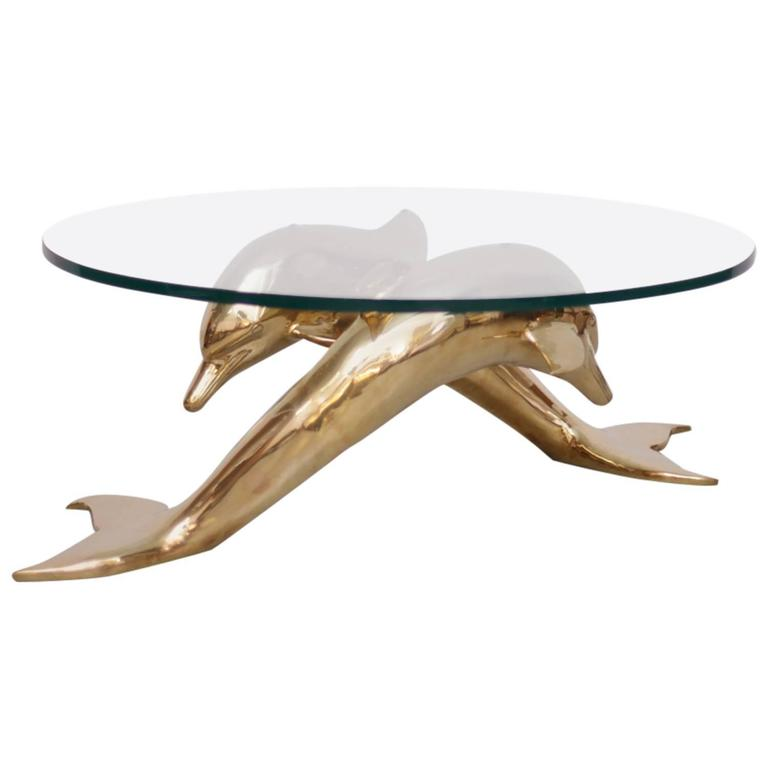 Brass Coffee Table In Form Of Two Dolphins For Sale At 1stdibs