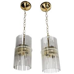 Pair of Mid-Century Modern Glass Rod Pendant Chandeliers by Lightolier