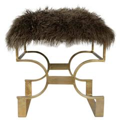 Ultra Luxe Hollywood Regency Bench in Moss Mongolian Lamb Fur