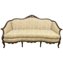 1930s French Louis XV Hollywood Regency Style Finely Carved Mahogany Sofa