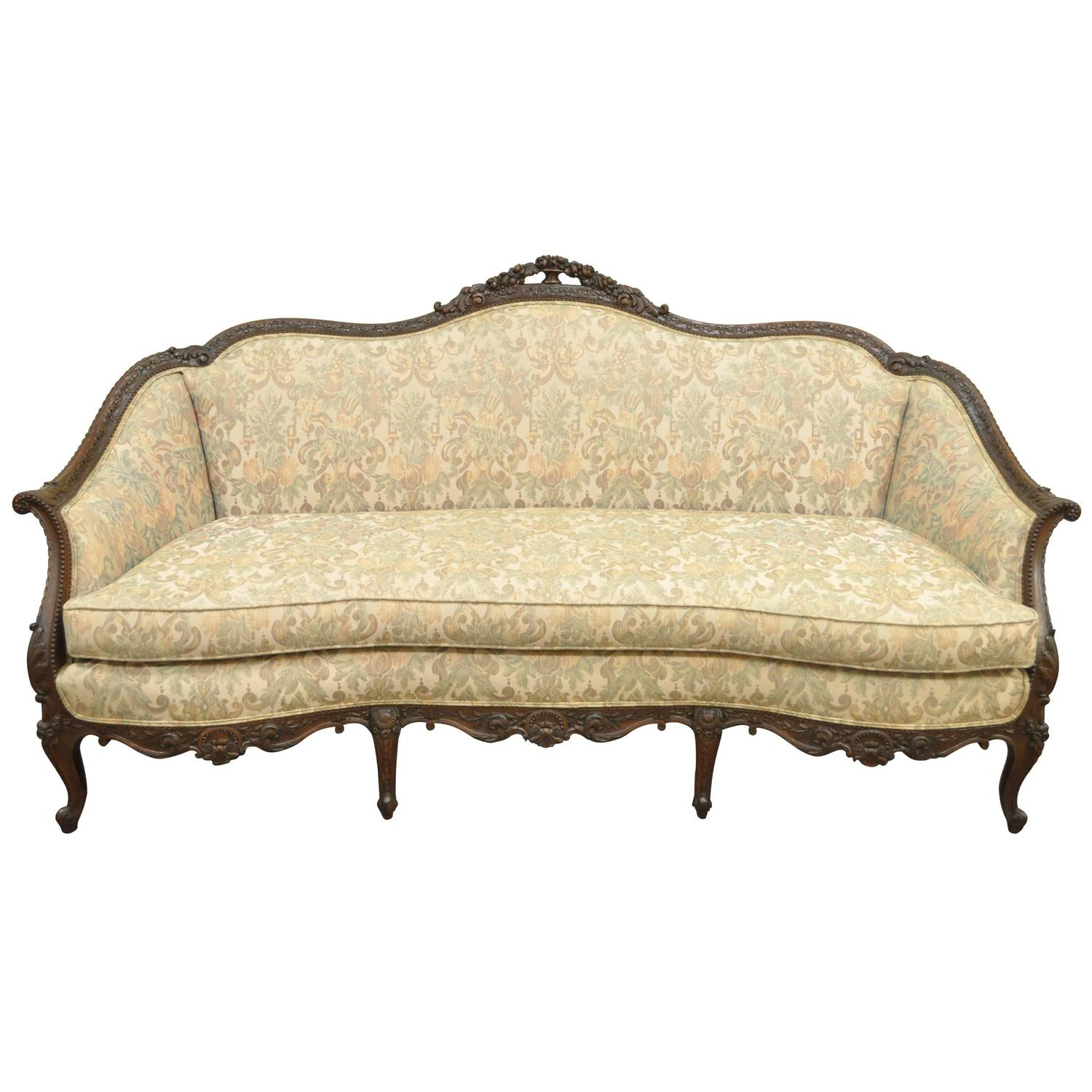 1930s French Louis Xv Hollywood Regency Style Finely Carved Mahogany Sofa At 1stdibs