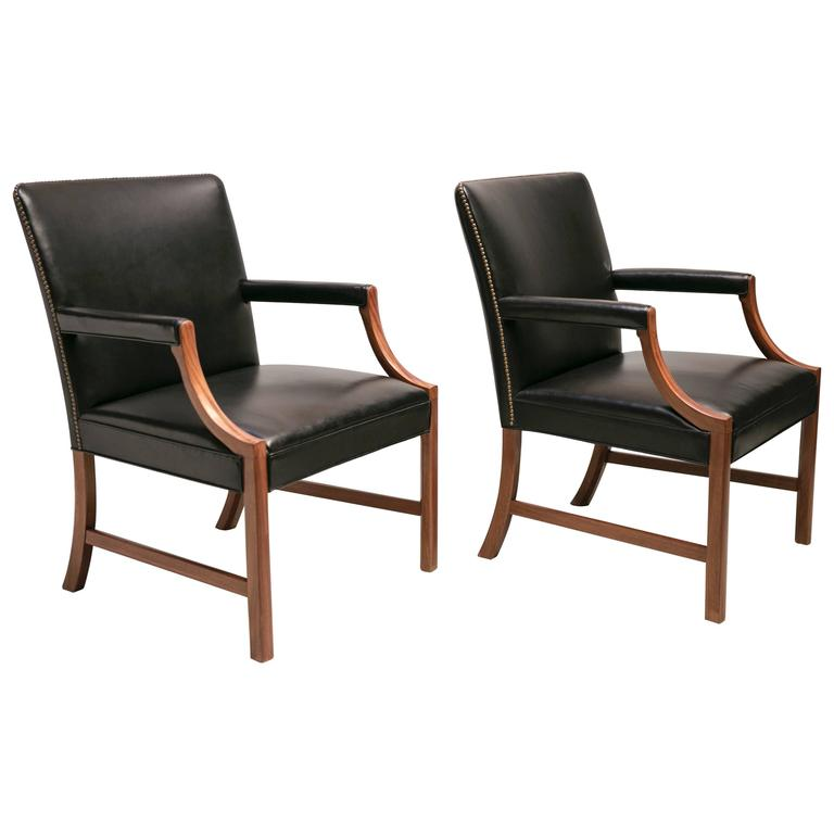 Pair of Armchairs in Black Leather with Brass Nails and Mahogany by Ole Wanscher For Sale