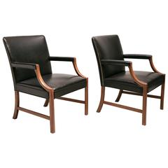 Pair of Armchairs in Black Leather with Brass Nails and Mahogany by Ole Wanscher