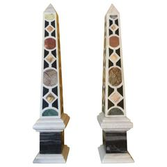 Pair of Italian Specimen Marble Obelisks, 20th Century