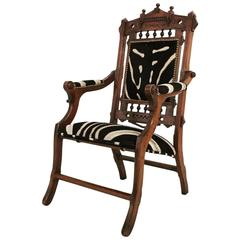 Victorian Style Walnut Campaign Chair