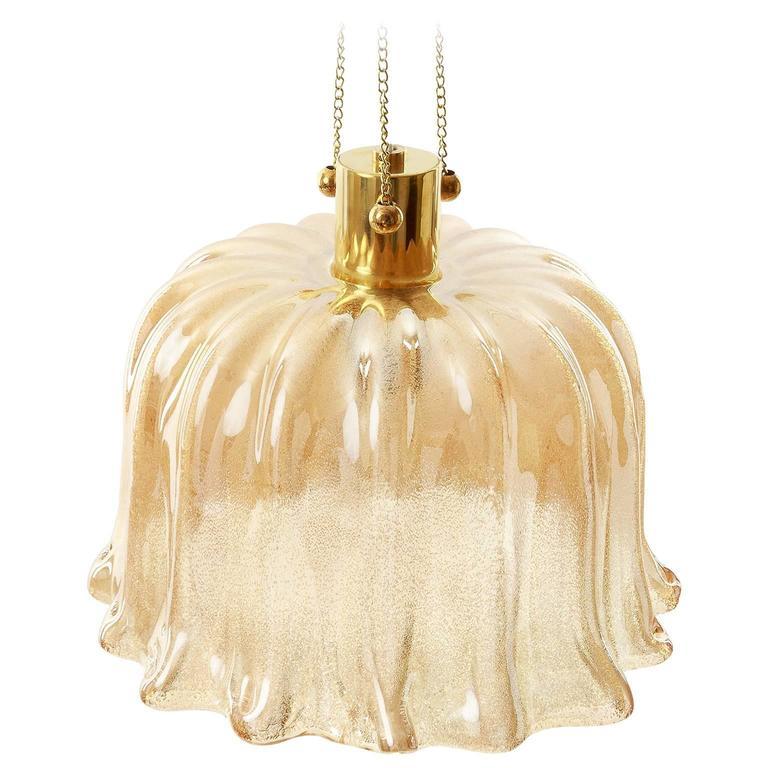 Barovier Pendant Light, Amber Tone Murano Glass, 1960s