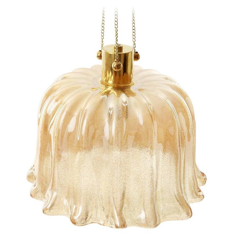 Barovier (attr.) Pendant Light, Amber Tone Murano Glass, 1960s 1