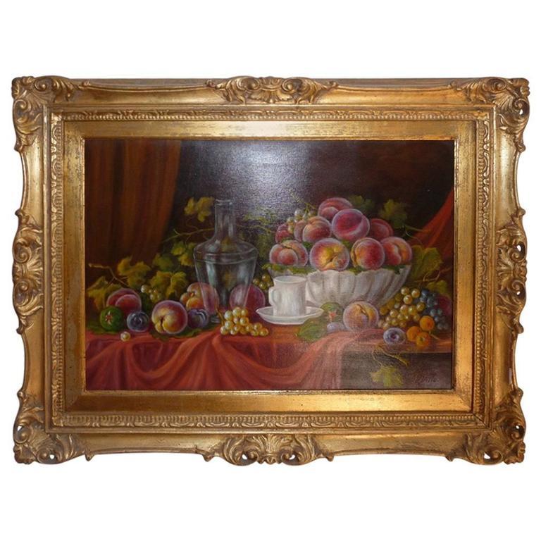 G. Villa Oil on Canvas 19th Century Still Life with Fruit, Italian School