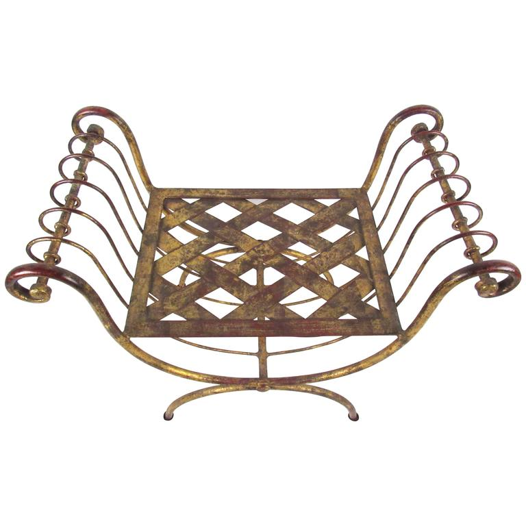 Vintage Modern Brass Stool