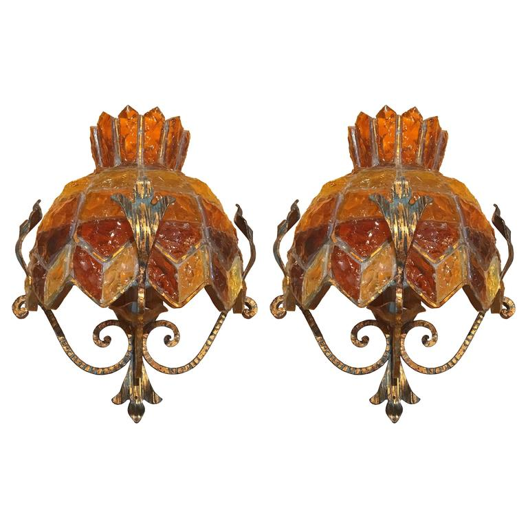 Pair of Brass and Glass Sconces, style of Poliarte (Two Pair Available)