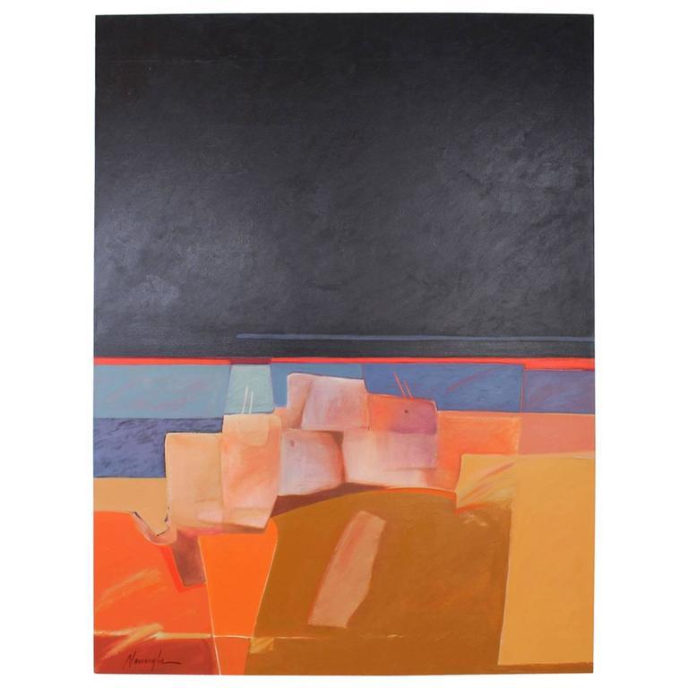 "Dan Namingha ""Pueblo"" Acrylic Painting For Sale"